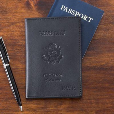d4a6586cfec5 First Class Monogrammed Leather Passport Cover