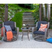 Forest Gate Weston Rattan Motion Chair Outdoor Chat Set in Grey