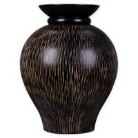 Villacera Black Mango Wood Zebra Stripe Urn Vase