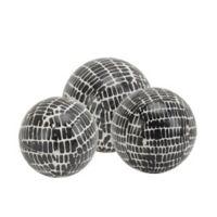 Sagebrook Home 3-Piece Cobblestone Ceramic Orb Set in Black/White