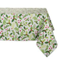 Design Imports Boughs of Holly 52-Inch Square Tablecloth
