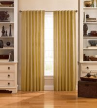 Catania 63-Inch Velvet Back Tab Window Curtain Panel in Gold