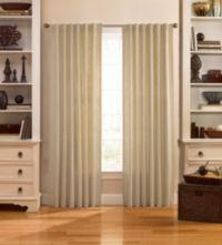 Catania 63-Inch Velvet Back Tab Window Curtain Panel in Ivory