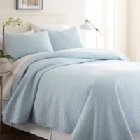 Hc Herring 100% Micro Fiber 3 Piece Quilt Set in Pale Blue