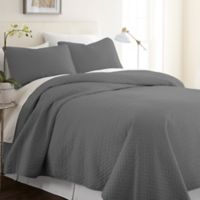 Hc Herring 100% Micro Fiber 3 Piece Quilt Set in Gray
