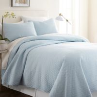 Hc Herring 100% Micro Fiber 3 Piece Quilt Set in Pale Blue