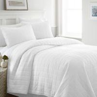 Hc Square 100% Micro Fiber 3 Piece Quilt Set in White