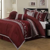 Riley Embroidered 7-Piece Queen Comforter Set in Wine