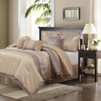 Riley Embroidered 7-Piece Queen Comforter Set in Sand