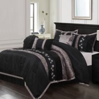 Riley Embroidered 7-Piece Queen Comforter Set in Black