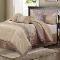 Riley Embroidered 7-Piece King Comforter Set in Sand