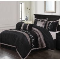 Riley Embroidered 7-Piece King Comforter Set in Black