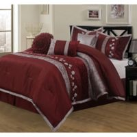 Riley Embroidered 7-Piece California King Comforter Set in Wine