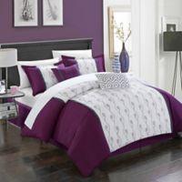 Chic Home Lystra 10-Piece Queen Comforter Set in Plum