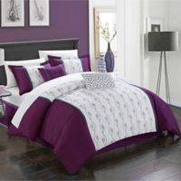 Chic Home Lystra 10-Piece King Comforter Set in Plum