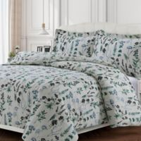 Tribeca Living Floral Flannel Queen Duvet Cover Set in Green