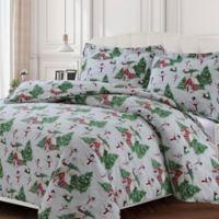 Tribeca Living 170-Thread-Count Snowman Flannel Queen Duvet Cover Set in Green