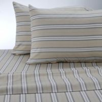 Therapedic® Stripe 160 Thread Count King Sheet Set in Linen/gray