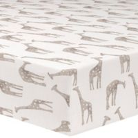 Liz and Roo Giraffe Fitted Crib Sheet in Taupe