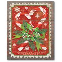Courtside Market™ Av1032 Candy Canes & Holly 16-Inch x 1.5-Inch Framed Wrapped Canvas