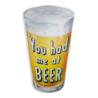 """""""You Had Me At Beer"""" 15.25-Inch x 15.75-Inch Metal Wall Art in Yellow"""