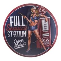 Gas Station Pinup Girl 15-Inch Metal Wall Art
