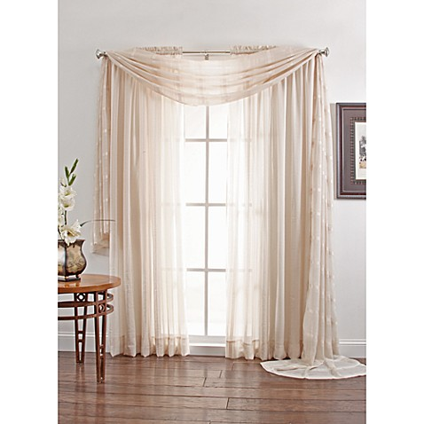 Linen sheer rod pocket window curtain panel and scarf for Linen sheer window panels