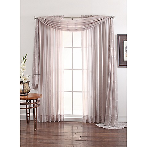 Linen Sheer 108 Inch Window Curtain Panel In Silver Bed