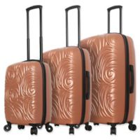 Mia Toro ITALY Swirl 3-Piece Hardside Spinner Luggage Set in Champagne