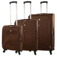 Mia Toro Tena 3-Piece Spinner Luggage Set in Brown