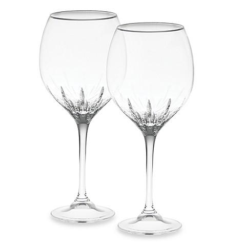 Vera wang wedgwood duchesse platinum crystal 20 ounce goblet set of 2 bed bath beyond - Vera wang goblets ...
