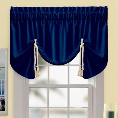 shop fleur ikat valance evelyn pattern driftaway on blue floral navy window deals