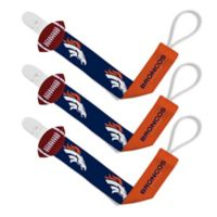 Baby Fanatic NFL Denver Broncos 3-Pack Pacifier Clips