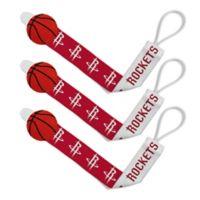 Baby Fanatic NBA Houston Rockets 3-Pack Pacifier Clips