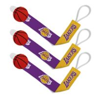Baby Fanatic NBA Los Angeles Lakers 3-Pack Pacifier Clips