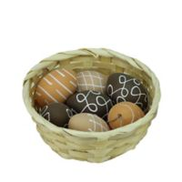 Northlight Decorative Egg Assortment and Basket in White/Brown/Natural (Set of 7)