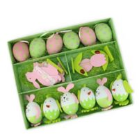 Northlight Easter Egg Chickens and Bunny Egg Ornaments in Green/White/Pink (Set of 16)