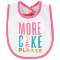 "carter's® ""More Cake Please"" Bib in White/Pink"