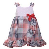 Bonnie Baby Size 24M Plaid Seersucker Dress in White