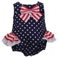 Bonnie Baby Size 18M Star with Stripes Bow Dress in Navy