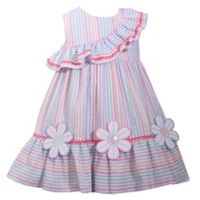 Bonnie Baby Size 12M Flower Ruffle Seersucker Multicolor Dress