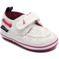 Nautica® Size 0-3M Tiny River Eyelet Boat Shoe in White/Pink