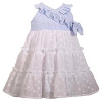 Bonnie Baby Size 4T Chambray Eyelet Dress in White
