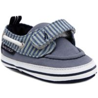 Nautica® Size 0-3M Tiny River Stripe Boat Shoes in Denim