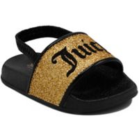 Juicy Couture® Size 0-3M Sling Back Fashion Slides in Black/Gold