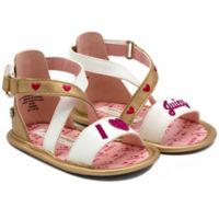 Juicy Couture® Size 0-3M X-Band Ankle Strap Sandals in Gold/White