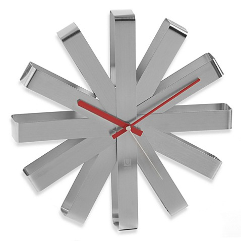 Umbra® Ribbon Brushed Steel Wall Clock