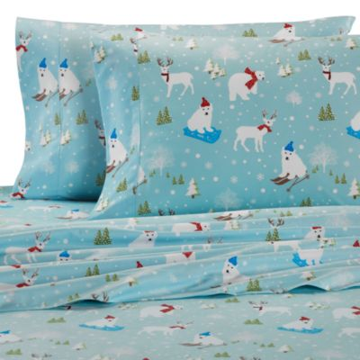 Charmant Micro Flannel® Printed Fun In The Snow King Sheet Set