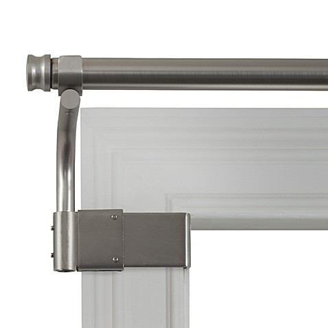 buy adjustable gripper brushed nickel window curtain rods from bed bath beyond. Black Bedroom Furniture Sets. Home Design Ideas