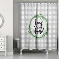 "Designs Direct ""Joy to the World"" Shower Curtain in Grey"